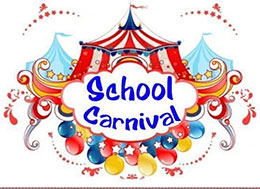 A carnival tent with the words School Carnival.