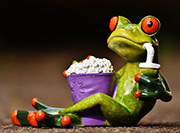 Image of a frog holding popcorn and a lemonade.
