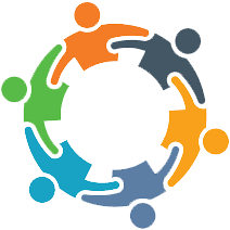 Equity and Inclusion symbol depicting six differently colored figures with extended arms to form a circle.