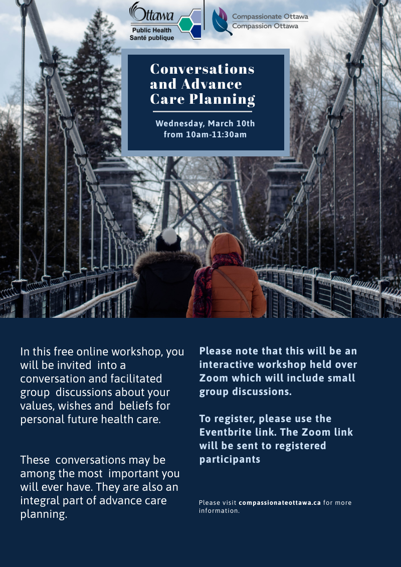 Poster 'Conversations and Advance Care Planning' and link