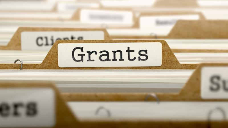 Grants  - Word on Folder Register of Card Index. Selective Focus. Catalog Concept.