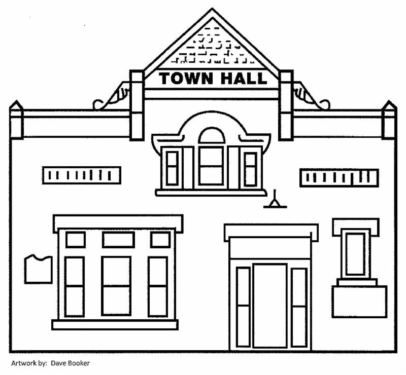 Pen & ink drawing of the Town Hall by Dave Booker 2004