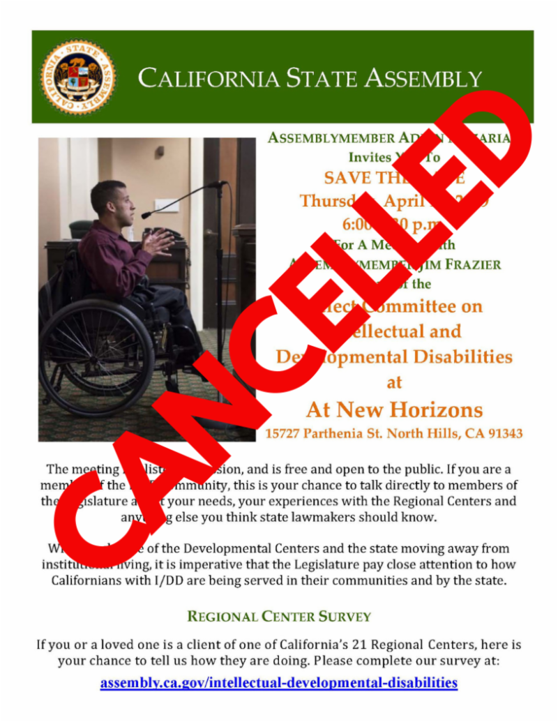 Asm. Frazier Apr 18th Event Cancellation English