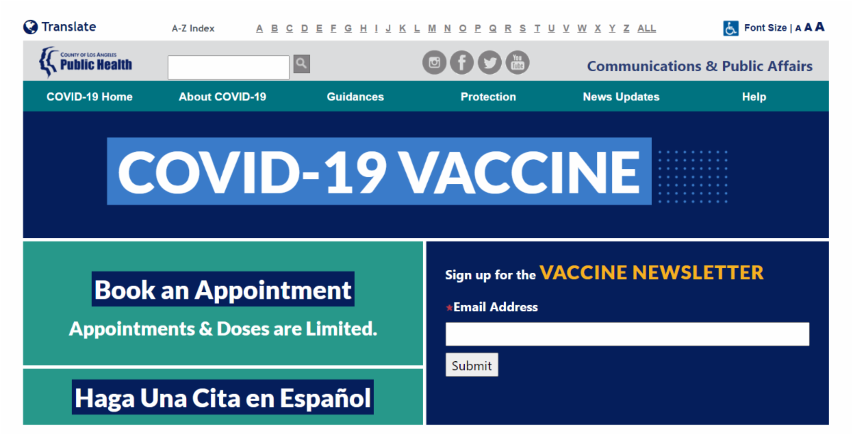 COVID Vaccine Sites LACDPH