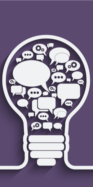 light bulb filled with message bubbles of all kinds on purple background