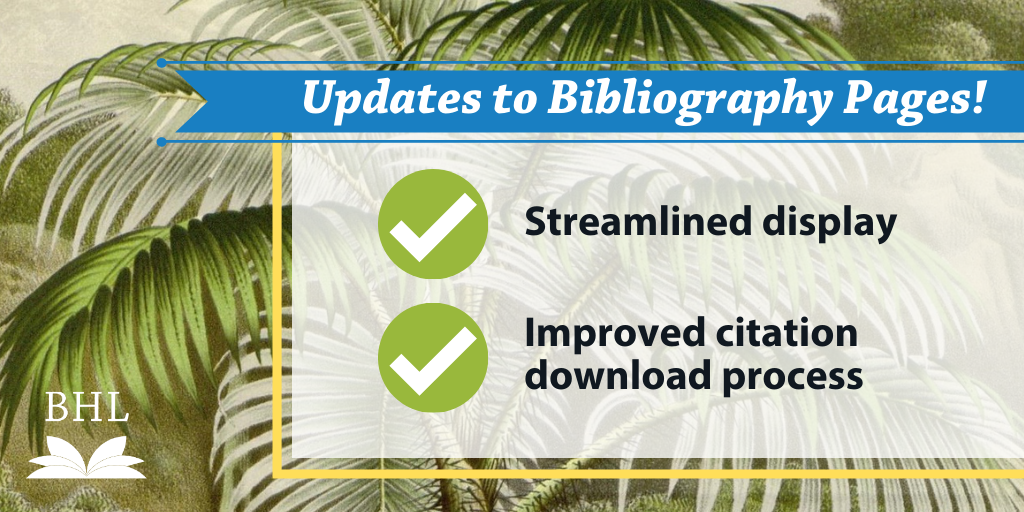 Graphic highlighting updates to bibliography pages.