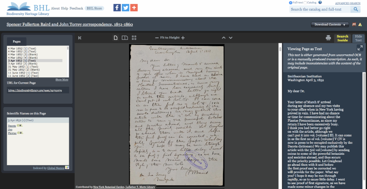 Example of archival materials in BHL with crowdsourced transcription