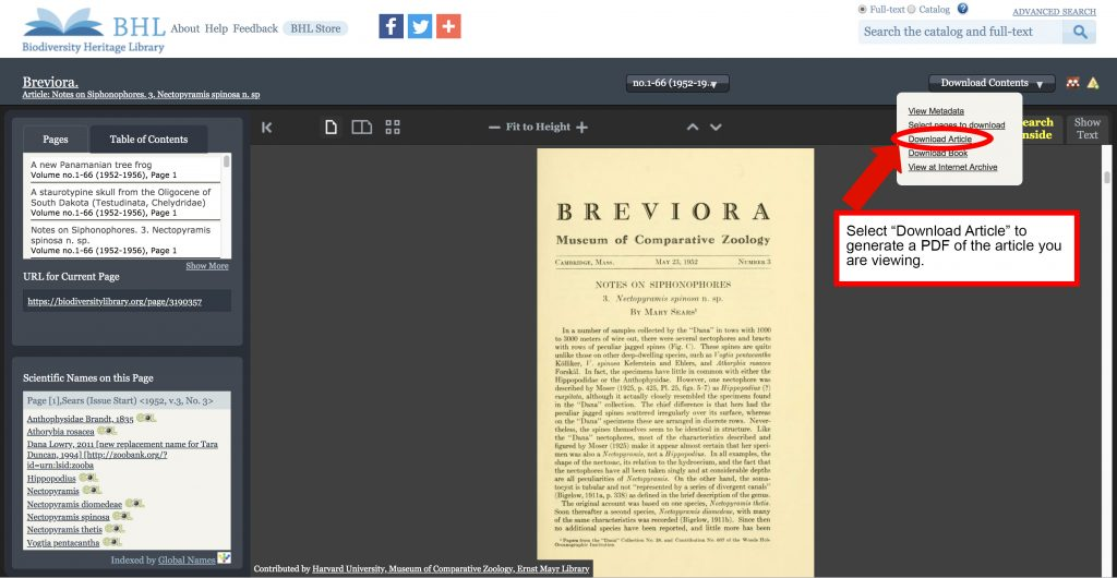 Screenshot of the BHL book viewer with the new article download feature highlighted