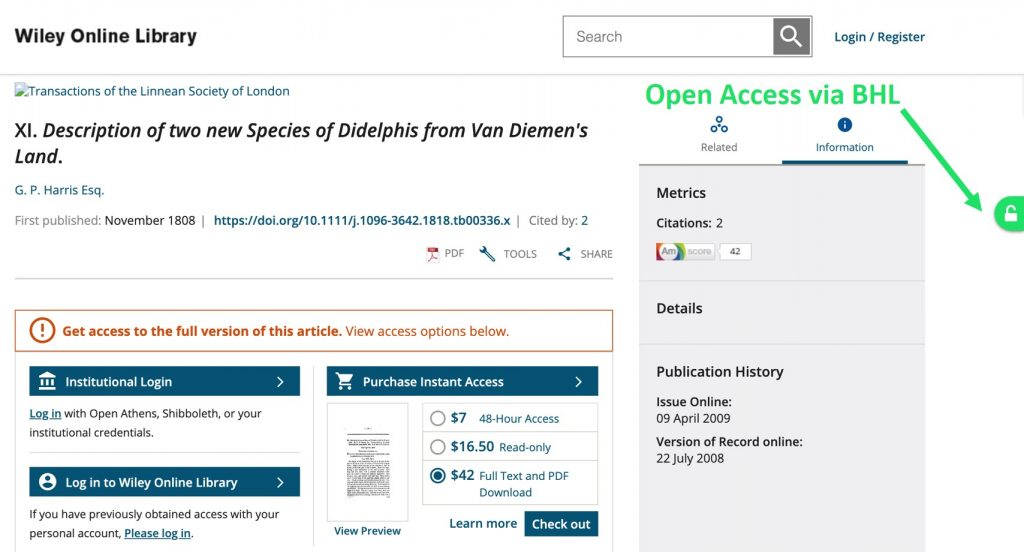 Example of the Unpaywall extension linking to BHL.