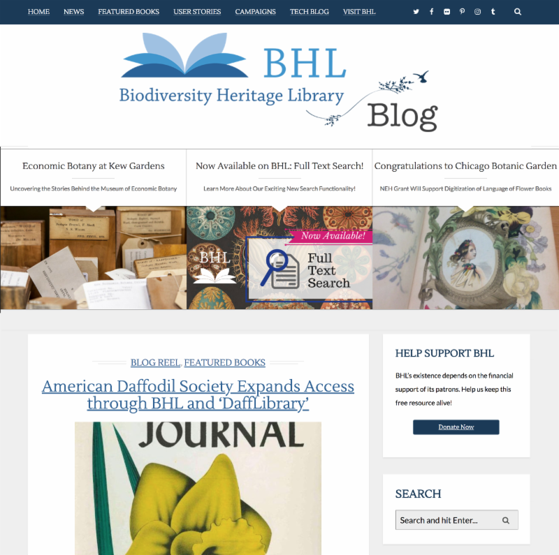Screenshot of the Biodiversity Heritage Library blog homepage