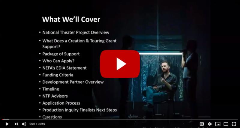 """Powerpoint still image from the National Theater Project webinar, with the YouTube """"Play"""" button over it."""