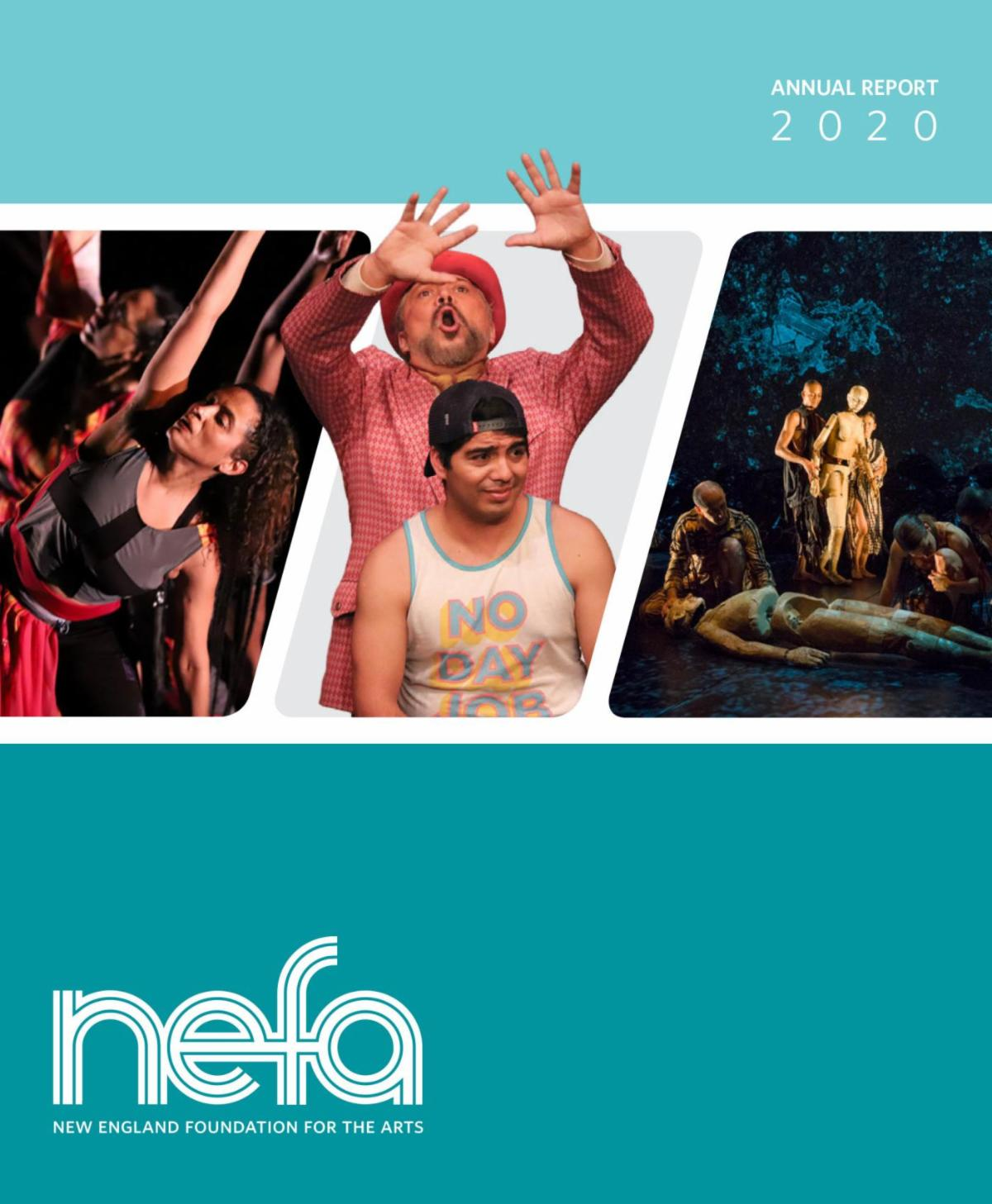 Cover of NEFA's annual report has puppets, actors, and dancers in warm colors with cooler colors in the design.