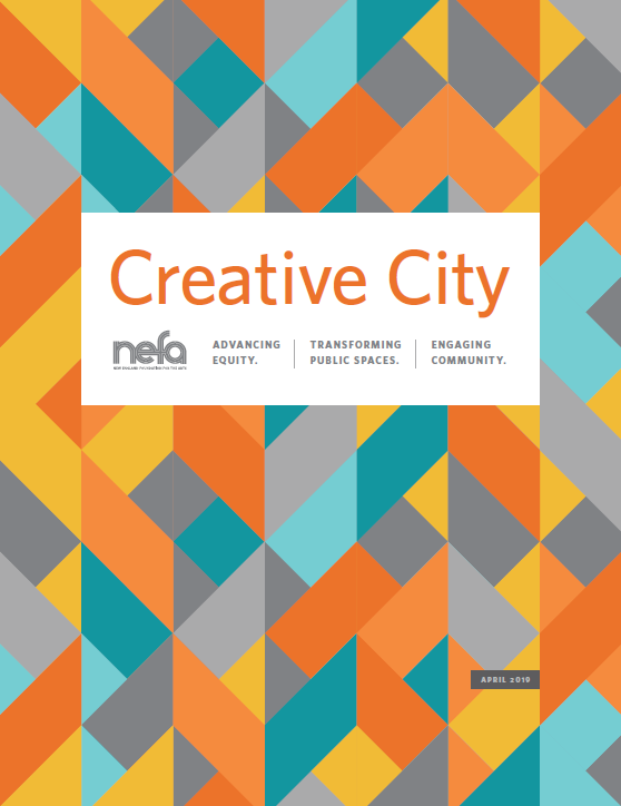"""Cover of """"Creative City"""" report. There's a bright geometric pattern across the entire cover."""
