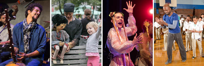 A photo collage of people singing and dancing; two play instruments on stages, while another claps with children in a gymnasium, and a fourth has a puppet outside on a street.