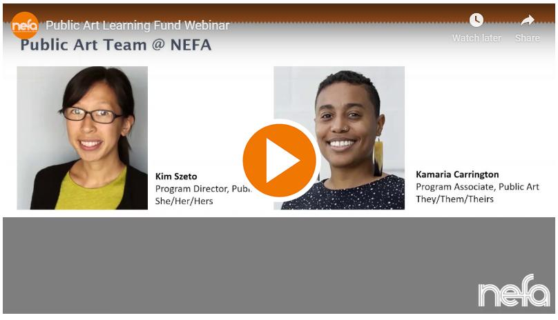"""A """"play"""" button for the Public Art Learning Fund webinar."""