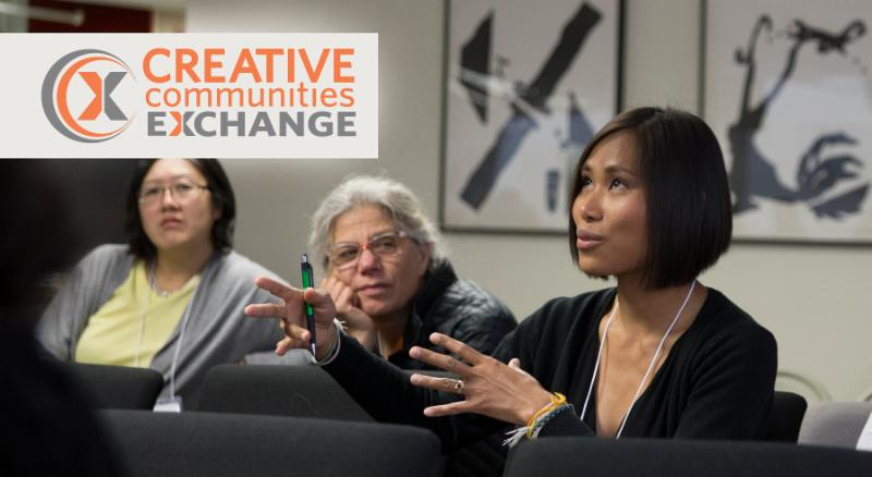 One women speaks from the audience, while two listen closely behind her. The Creative Communities Exchange logo is in the top left corner.