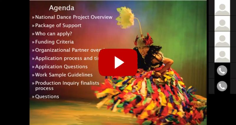 """Powerpoint slide from the National Dance Project webinar, with the YouTube """"Play"""" button over it."""