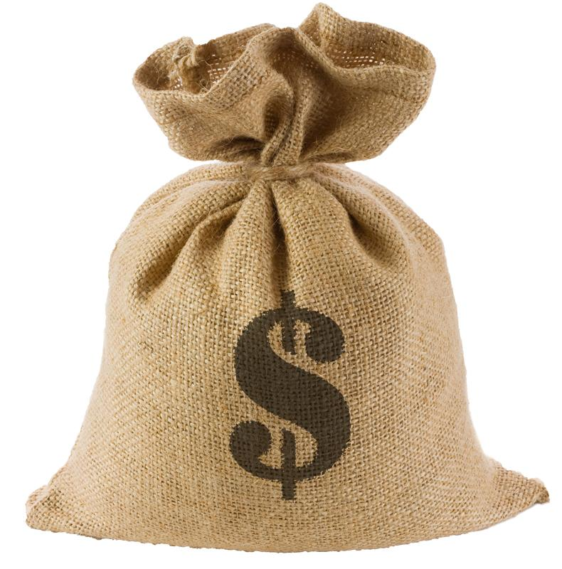 A burlap bag with a dollar sign on it.